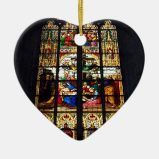 Buntglasbild Keramik Herz-Ornament