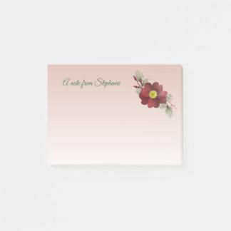 Burgunder-Blumen-und -kiefern-Ast-Feiertag Post-it Klebezettel