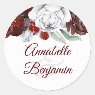Burgunder und weiße Blumen, die Wedding sind Runder Aufkleber