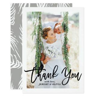 Bürsten-Handbeschriftungs-Foto-Hochzeit danken 12,7 X 17,8 Cm Einladungskarte