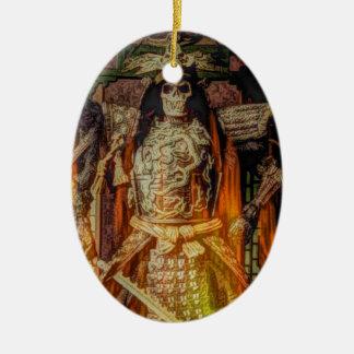 bushido japanischer Samurairüstungs-Samuraischädel Keramik Ornament