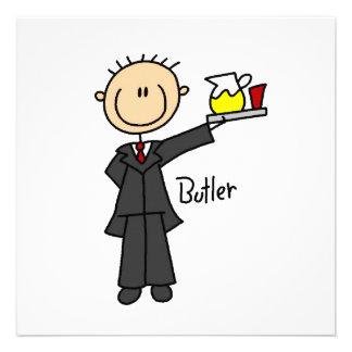 Butler-Strichmännchen Personalisierte Ankündigungskarte