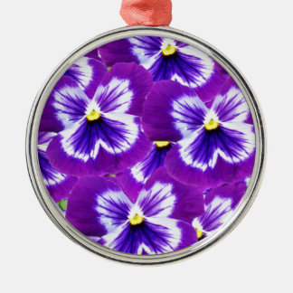 Butterfly_Purple_Pansies, _ Silbernes Ornament