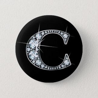"""C-"" Diamant Bling Knopf Runder Button 5,7 Cm"