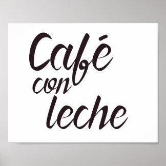 Café Betrug Leche spanische Kaffee-Wort-Kunst Poster