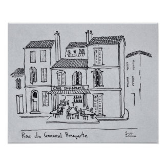 Café Bonaparte auf Rue du General Bonaparte Poster