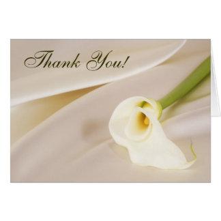 Calla-Lilie auf weißem Satin, danke! Grußkarte