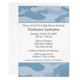 Camouflage-Baby-Dusche oder Party - hellblau Karte