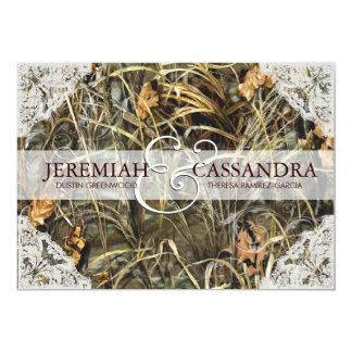 Camouflage und weiße Spitze-Hochzeits-Einladung 12,7 X 17,8 Cm Einladungskarte