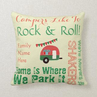 Camper-Wohnwagen-Redewendungen Retro rotes grünes Kissen