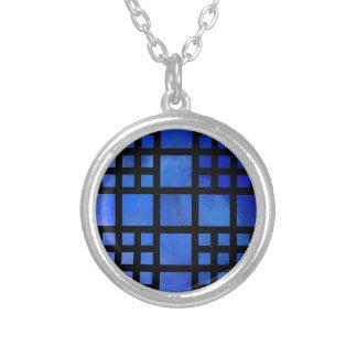 Cappanella V1 - blaue Quadrate Versilberte Kette