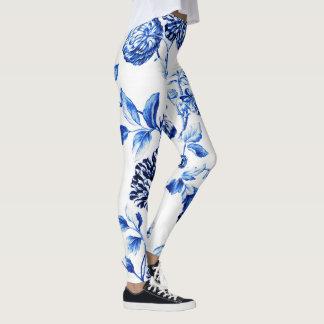 Capri blaues Vintages botanisches BlumenToile No.2 Leggings