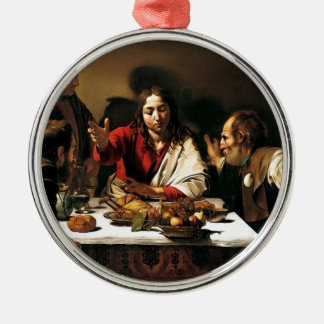 Caravaggio - Abendessen bei Emmaus - klassische Silbernes Ornament