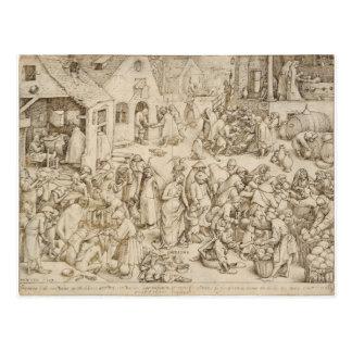 Caritas (Wohltätigkeit) durch Pieter Bruegel das Postkarte
