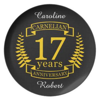 Carnelian-Edelstein-Hochzeitstag 17 Jahre Teller