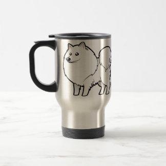 Cartoon-amerikanischer Eskimohund/deutscher Spitz Edelstahl Thermotasse