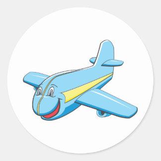 Cartoon-Flugzeug Runder Aufkleber