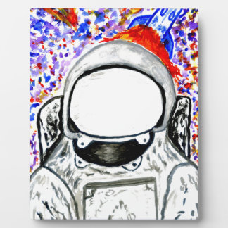 Cartoon gemalter Astronaut Fotoplatte