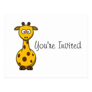 Cartoon-Giraffe scherzt Party Einladung Postkarte