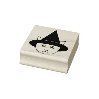 Cartoon Hexe-Katze Gesichts-Gummi-Briefmarke Gummistempel