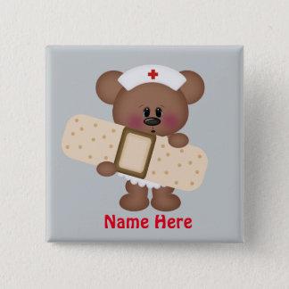 Cartoon-Krankenschwester addieren Namensknopf Quadratischer Button 5,1 Cm