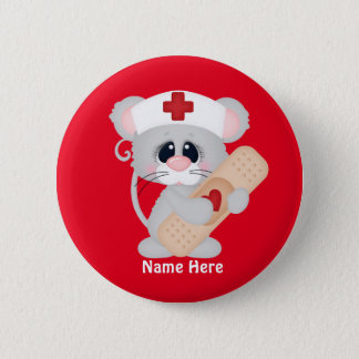 Cartoon-Krankenschwester-Maus addieren Namensknopf Runder Button 5,1 Cm