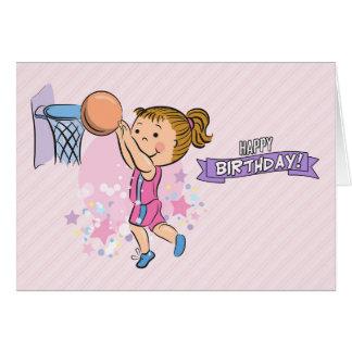 Cartoon-Mädchen, das Basketball-Geburtstags-Karte Grußkarte