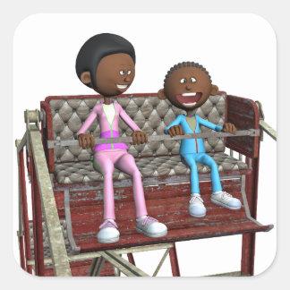 Cartoon-Mutter und Sohn auf einem Riesenrad Quadratischer Aufkleber