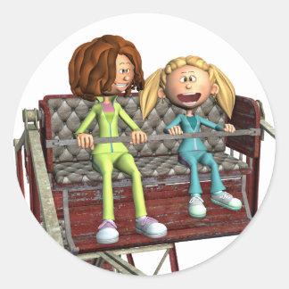 Cartoon-Mutter und Tochter auf einem Riesenrad Runder Aufkleber