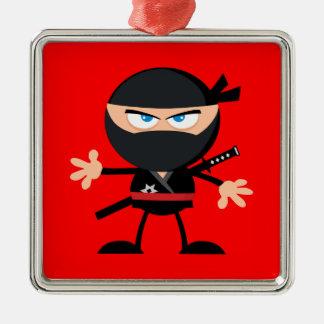 Cartoon Ninja Krieger-Rot Silbernes Ornament
