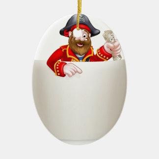 Cartoon-Piraten-Rolle-Zeichen Ovales Keramik Ornament