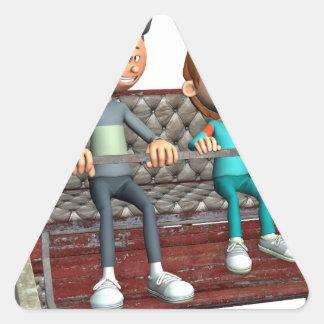 Cartoon-Vater und Sohn auf einem Riesenrad Dreieckiger Aufkleber