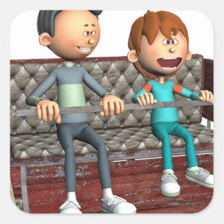 Cartoon-Vater und Sohn auf einem Riesenrad Quadratischer Aufkleber