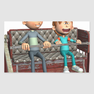 Cartoon-Vater und Sohn auf einem Riesenrad Rechteckiger Aufkleber