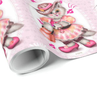 "CARTOON Verpackungs-Papier 30"" MADAME-CAT 2 x 15' Geschenkpapier"
