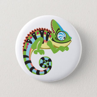 Cartoonchamäleon Runder Button 5,7 Cm