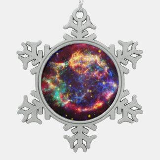 Cassiopeaia Galaxiesupernova Schneeflocken Zinn-Ornament