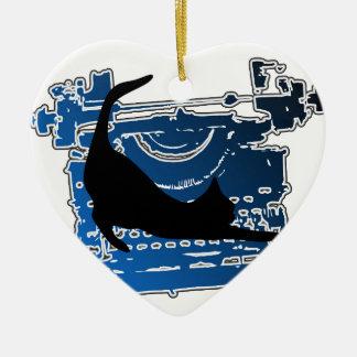 CAT AUF EINER VINTAGEN SCHREIBMASCHINE KERAMIK Herz-Ornament