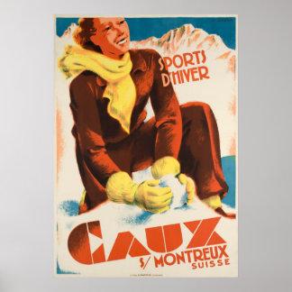 Caux Suisse Vintages Reise-Plakat Poster