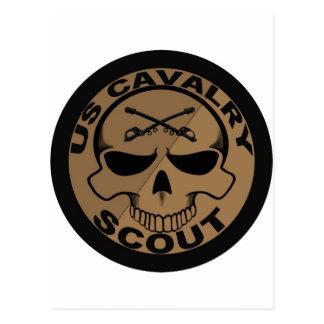 Cav Pfadfinder-Schädel-Schwarzes und Gold Postkarte