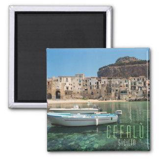Cefalu Stadt in Sizilien Quadratischer Magnet