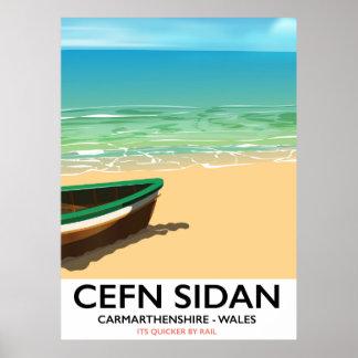 Cefn Sidan, Carmarthenshire Wales Vintage Poster