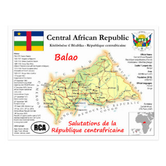 Central African Republic map postcard Postkarte