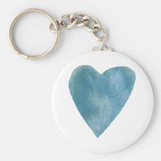 Cerulean Blau-Aquarell-Herz Schlüsselanhänger