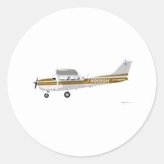 Cessna 172 Skyhawk Brown Runde Aufkleber