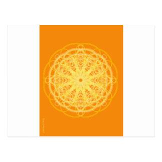 Chakra Mandala-heilige Geometrie-Leuchtorange Postkarte