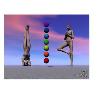 chakras und Yoga und Himmel Postkarte