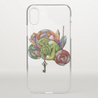 Chamäleon und Kristalle iPhone X Hülle