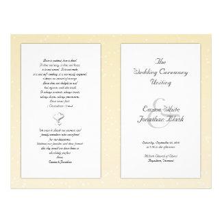Champagne faltete christliches Hochzeits-Programm 21,6 X 27,9 Cm Flyer