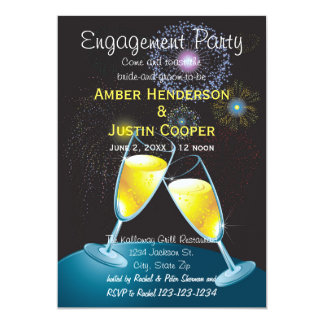 Champagne-Gläser u. Feuerwerke - Verlobungs-Party 12,7 X 17,8 Cm Einladungskarte